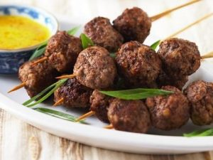 15. Skewered Meatballs in Satay Sauce